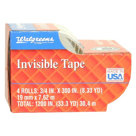 Walgreens Invisible Tape - 300 in. x 4 pack