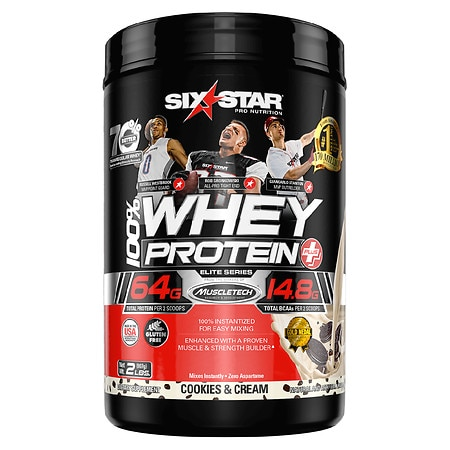 Six Star Whey Protein Plus, Elite Series Cookies & Cream - 2 lb
