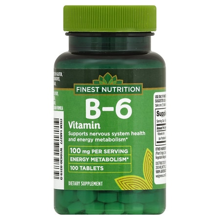 Finest Nutrition B-6 Vitamin 100 mg Dietary Supplement Tablets - 100 ea