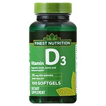 Finest Nutrition D3 Vitamin 125 MCQ  Dietary Supplement Softgels