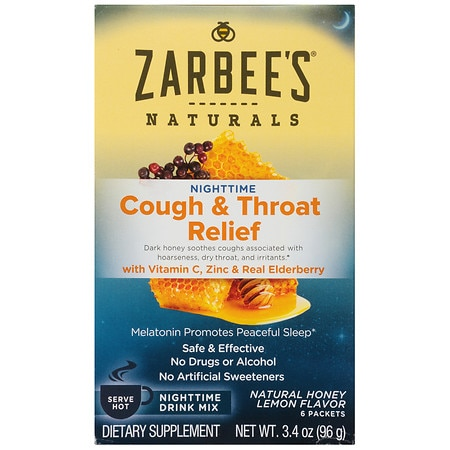 ZarBee's Naturals Cough & Throat Relief Nighttime Drink Packets Honey Lemon