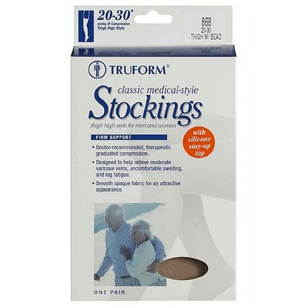 Truform Thigh High Open Toe Stocking with Beaded Stay-Up Top (Firm) 20-30mm - 1 pr