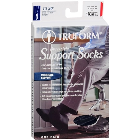 Truform Men's Dress Style Over-the-Calf Length Firm (15-20 mm) Support Socks XL - 1 pr