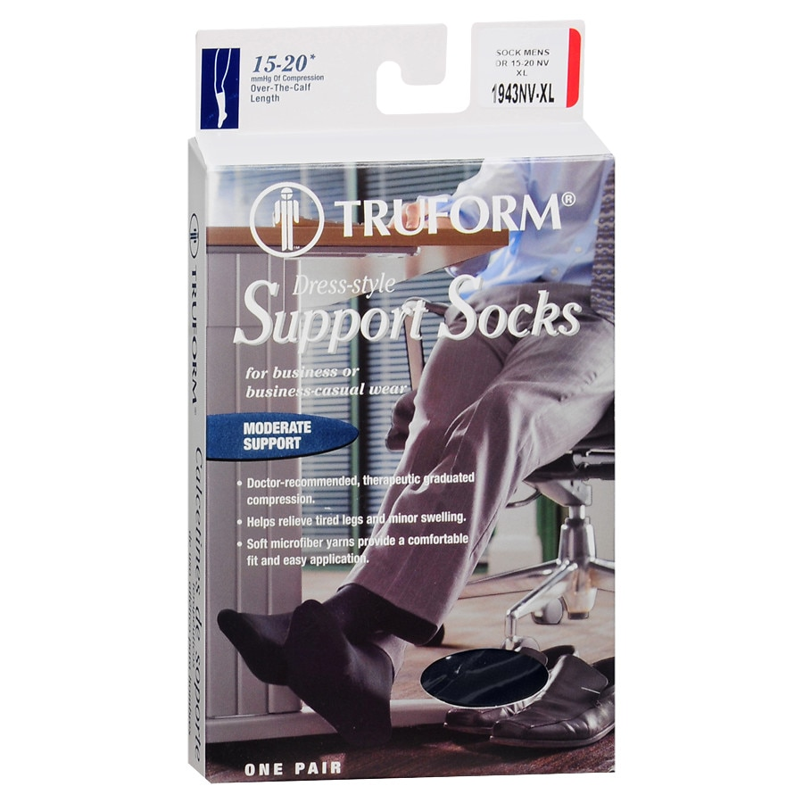 db99047fbc9 Truform Men s Dress Style Over-the-Calf Length Firm (15-20 mm) Support Socks  XL