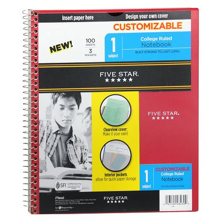 Mead Five Star 1 Subject Spiral Notebook College Ruled - 1 EA