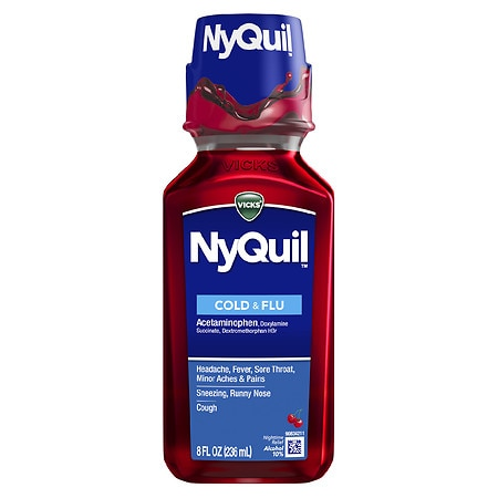 Vicks Nyquil NyQuil Cold & Flu Nighttime Relief Liquid Cherry - 8 oz.