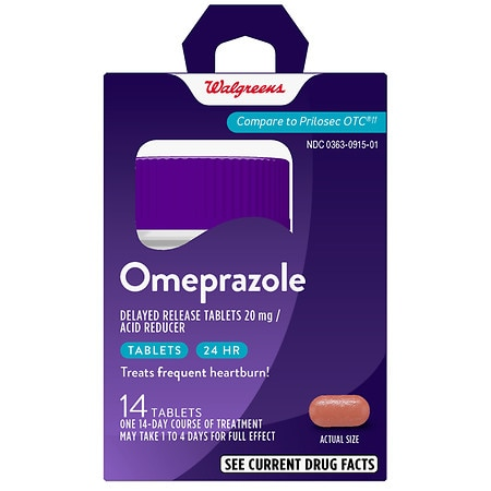 Walgreens Omeprazole Acid Reducer Delayed-Release Tablets Wildberry Mint - 14 ea.