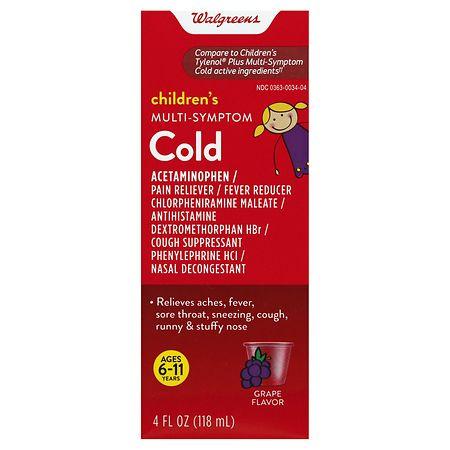 Walgreens Children's Plus Multi Symptom Cold Oral Suspension Grape - 4 fl oz