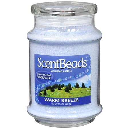ScentBeads Wax Bead Jar Candle Warm Breeze Light Blue
