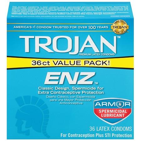Trojan-Enz Spermicidal Lubricated Premium Latex Condoms -