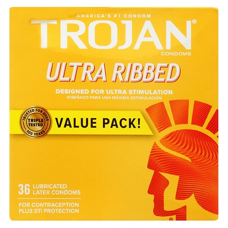 Trojan Ultra Ribbed Stimulations Premium Lubricant Latex