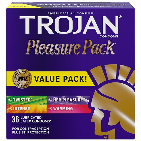 Trojan Lubricated Latex Condoms, Pleasure Pack -