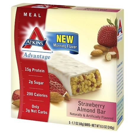 Atkins Advantage Meal Bars Strawberry Almond, 5 pk