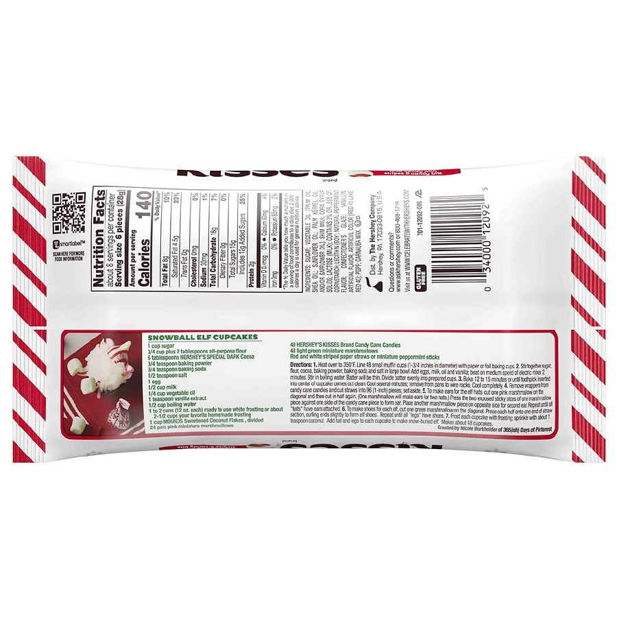 Hershey S Candy Cane Kisses Mint Walgreens