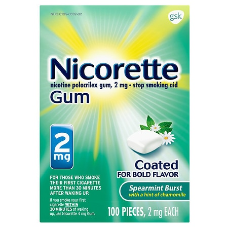Nicorette Nicotine Gum, 2 mg Spearmint Burst with a hint of Chamomile - 100 ea