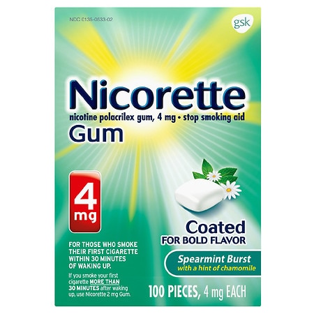 Nicorette Nicotine Gum, 4 mg Spearmint Burst With a Hint of Chamomile - 100 ea
