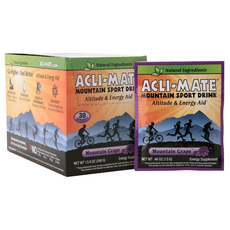 Acli-Mate Mountain Sport Drink Altitude & Energy Aid Packets Grape, 30 pk