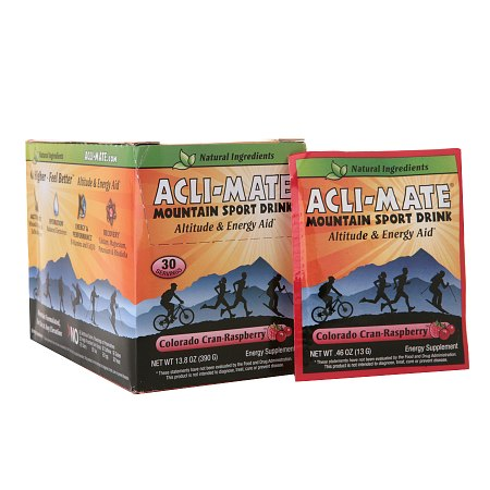Acli-Mate Mountain Sport Drink Altitude & Energy Aid Packets Colorado Cran-Raspberry - 0.46 oz. x 30 pack