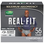 Depend Real Fit Incontinence Underwear for Men, Maximum Absorbency, Small/ Medium, Gray Gray