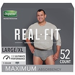 Depend Real Fit Incontinence Underwear for Men, Maximum Absorbency, Large/ XLarge Gray