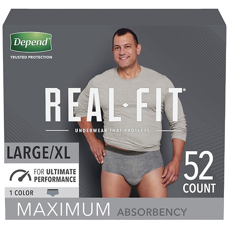 Depend Real Fit Incontinence Briefs for Men, Maximum Absorbency Large/Extra Large Gray