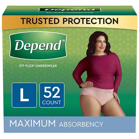 Depend Incontinence Underwear for Women, Maximum Absorbency Large Soft Peach