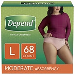 Depend Incontinence Underwear for Women, Moderate Absorbency Large Soft Peach