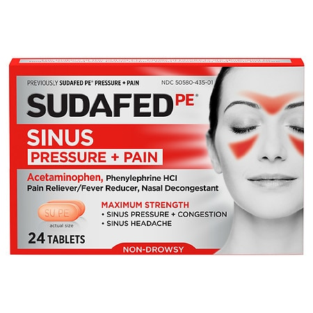 Sudafed Sinus Pressure + Pain Relief Decongestant Tablets