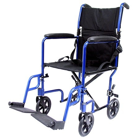 Karman 17 inch 19 lbs. Lightweight Transport Chair with Removable Footrest, Blue