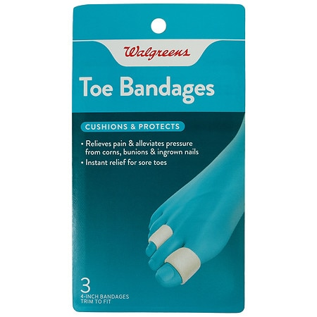 Walgreens Toe Bandages, 4 inch - 3 ea