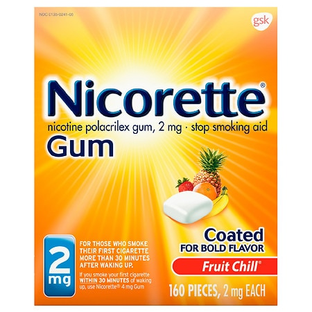 Nicorette Nicotine Gum to Stop Smoking Fruit Chill - 160 ea
