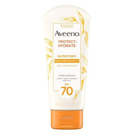 Aveeno Protect + Hydrate Moisturizing Sunscreen Lotion, SPF 70 - 3 oz.