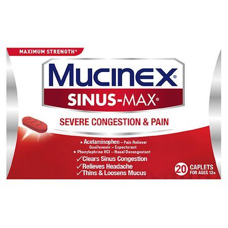 Mucinex Sinus-Max Severe Congestion Relief Caplets - 20 ea