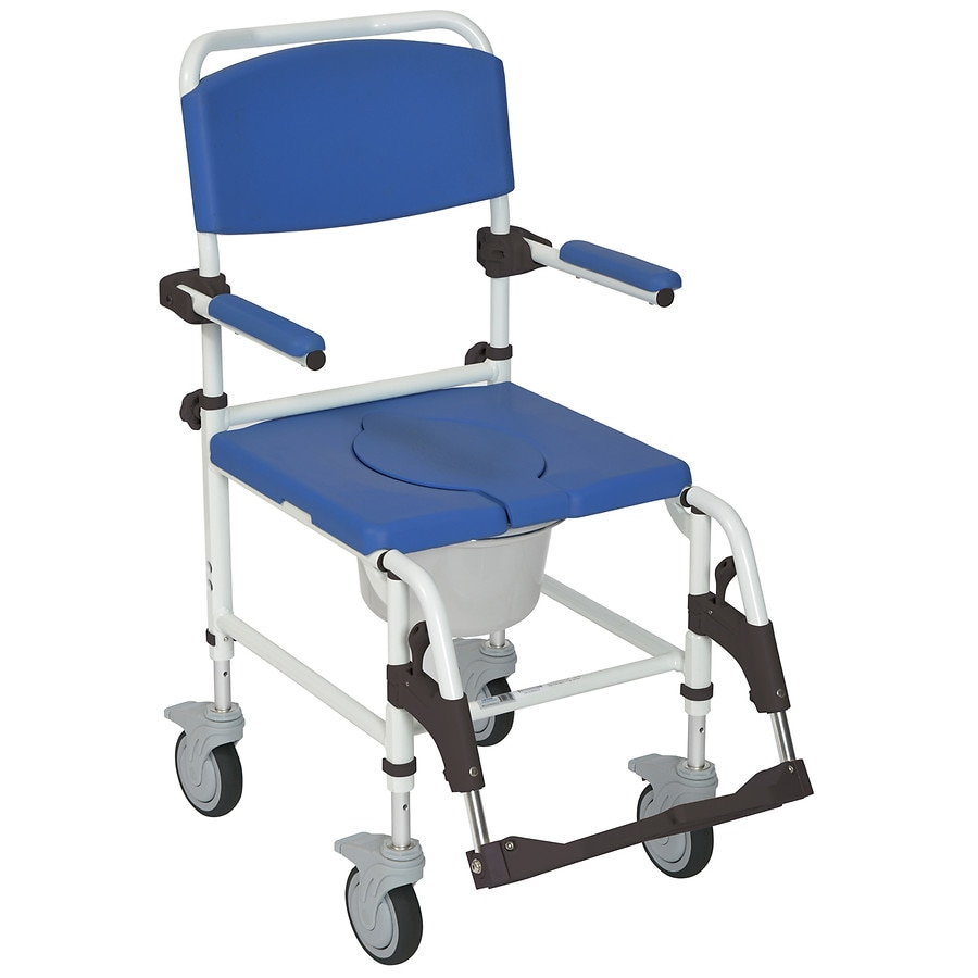 Drive Medical Aluminum Shower Commode Transport Chair | Walgreens