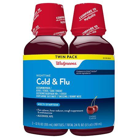 Walgreens Nightime Cold & Flu Cherry - 12 fl oz x 2 pack