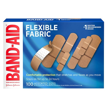 Band Aid Brand Flexible Fabric Adhesive Bandages, Assorted Sizes Assorted - 100 ea