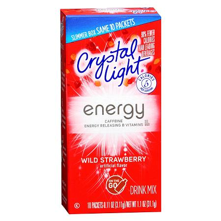 Crystal Light Energy Drink Mix Powder Strawberry - 0.11 oz. x 10 pack