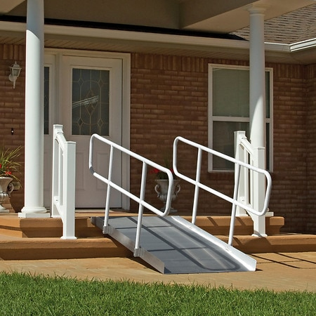 PVI Solid Ramp With Handrails 4 ft X 36 in Wide - 1 ea