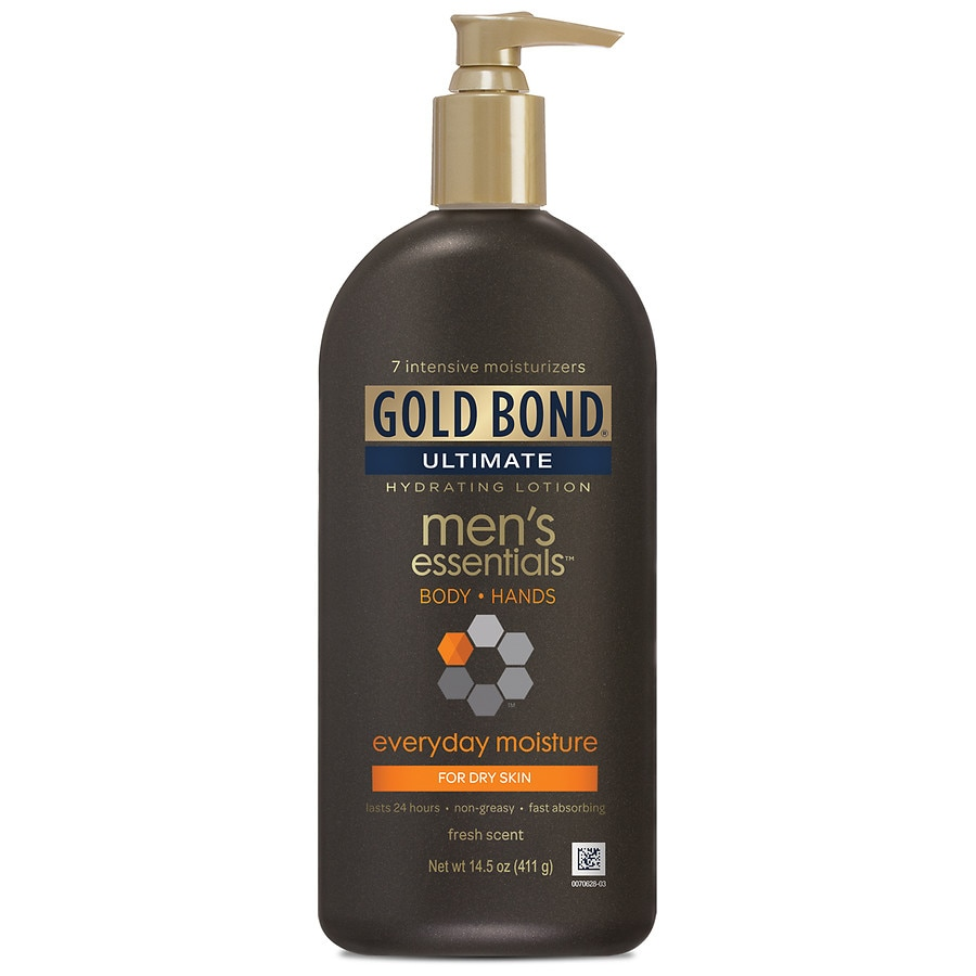 Lotion: oz & 21 oz. Specially made to hydrate and soften men's dry skin. GOLD BOND ® Ultimate Men's Everyday Moisture is specifically designed to moisturize men's tougher, drier skin. With a combination of 7 moisturizers and 4 vitamins plus skin-strengthening proteins, the formula helps restore smoother, softer skin on the body and hands.