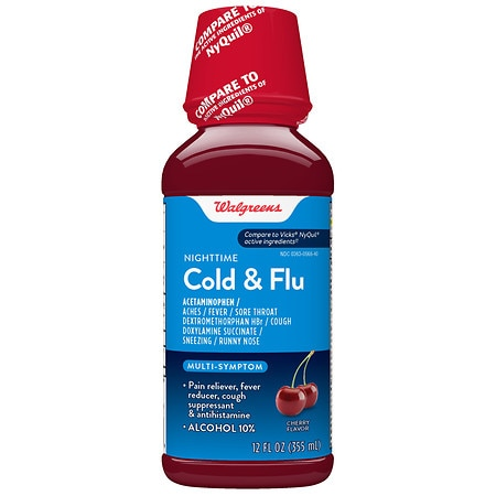 Walgreens Multi-Symptom Nighttime Cold & Flu Relief Cherry - 12 fl oz