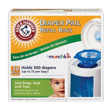 Image of Arm & Hammer by Munchkin Diaper Pail Refill Bags - 20 ea