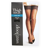 West Loop Luxe Lace Top Reinforced Toe Thigh Highs Jet Black Small/ Medium