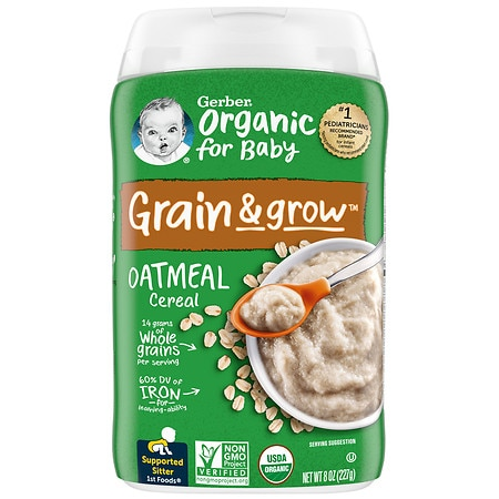Gerber Organic Oatmeal Whole Grain Cereal - 8 oz.
