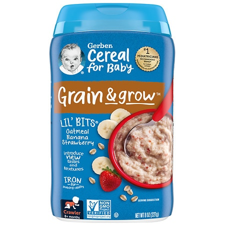 Gerber Lil Bits Oatmeal Cereal Oatmeal Banana Strawberry - 8 oz.
