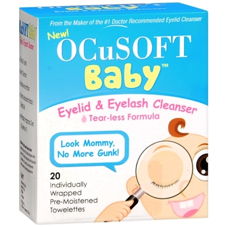 Image of Ocusoft Baby Eyelid & Eyelash Cleanser Individually Wrapped Pre-Moistened Towelettes - 20 ea