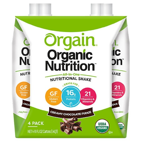 Orgain Organic Nutritional Liquid Shakes Chocolate Fudge - 11 oz. x 4 pack