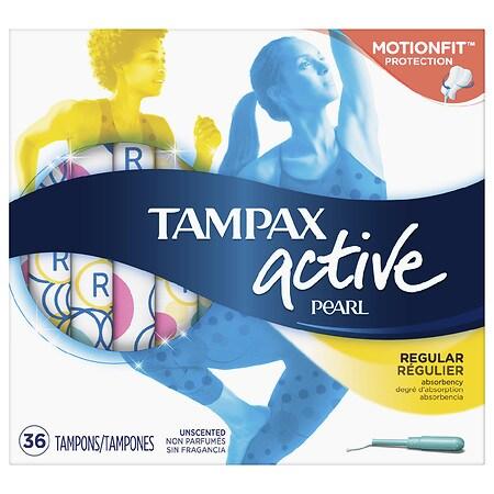 Tampax Pearl Active Tampons, Plastic, Regular Absorbency Unscented, Regular - 36 ea