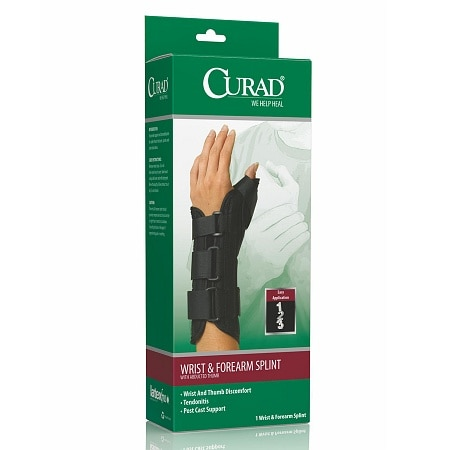Curad Wrist & Forearm Splint with Abducted Thumb-Left Small Black