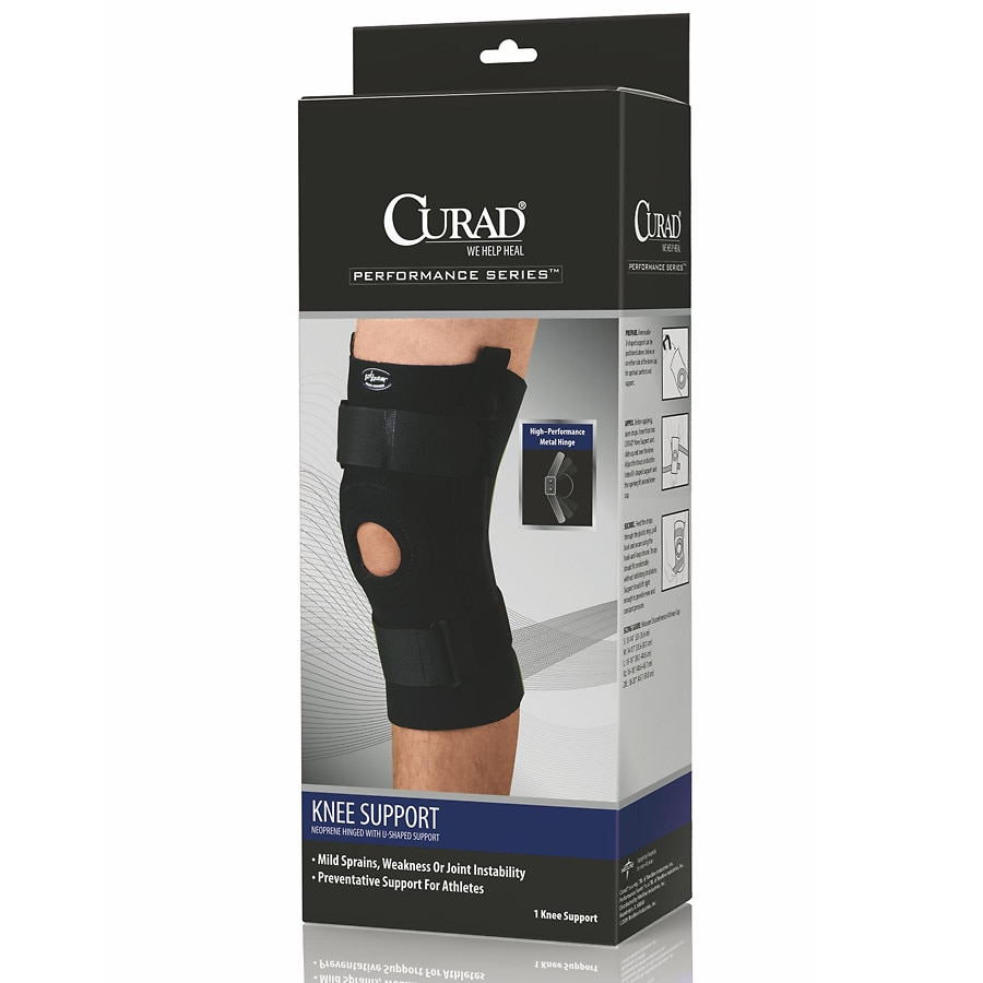 57e2cdf5d6 Curad Knee Support Neoprene Hinged with U-Support Large Black1.0 ea