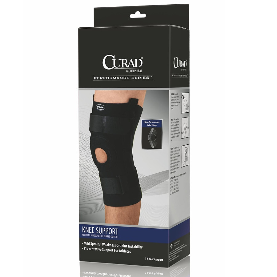 c33771e45a Curad Knee Support Neoprene Hinged with U-Support X-Large Black1.0 ea